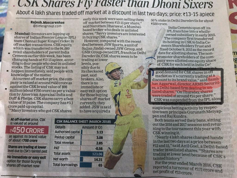 Buy shares of chennai super kings